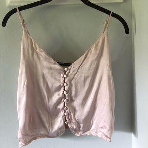 Brandy Melville Pink silk tank